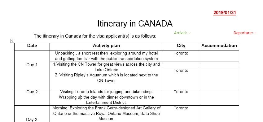 نمونه برنامه سفر به کانادا